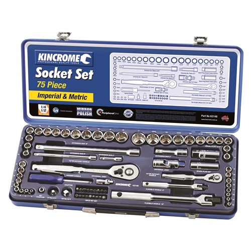 SOCKET SET 75 PIECE 14 & 12 DRIVE (MIRROR POLISH) - METRIC & IMPERIAL 1