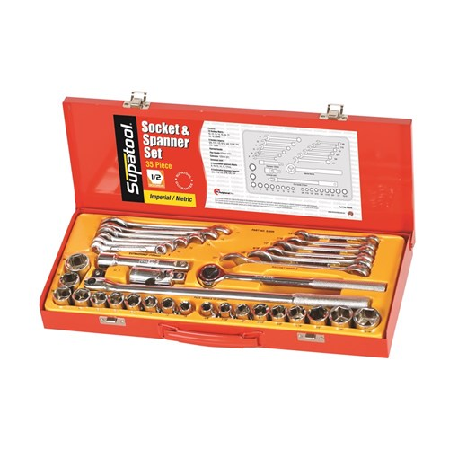 SOCKET & SPANNER SET 35 PIECE 12 DRIVE - METRIC & IMPERIAL 1