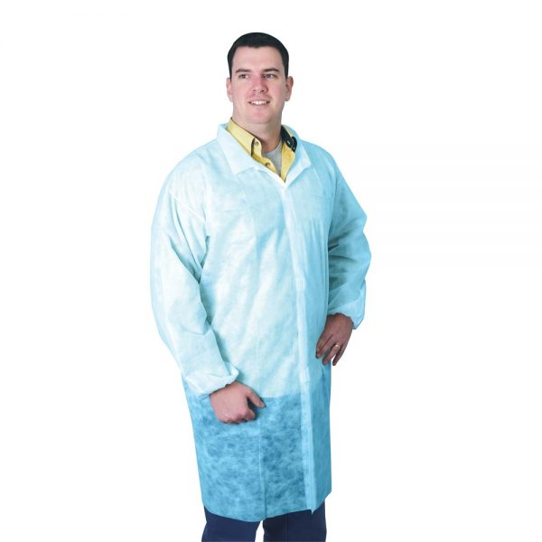 FRONTIER Disposable Lab Coat with Grip Tab