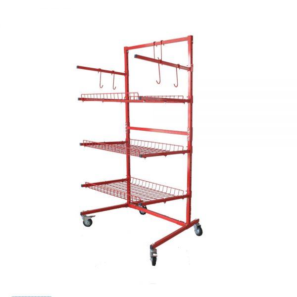 Multi Level Parts Cart - 3 Shelve 89 x 76 x 185cm with Hooks